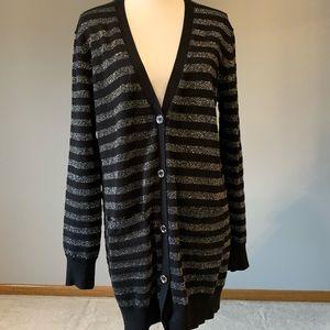 Michael Kors Black and Silver Stripe Cardigan